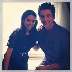 Senior Editor Kaitlin Cubria with Miles Teller during promo for That Awkward Moment.