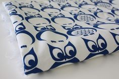 Owls in Royal Blue - Hand Screen Printed Fabric. $17.00, via Etsy.