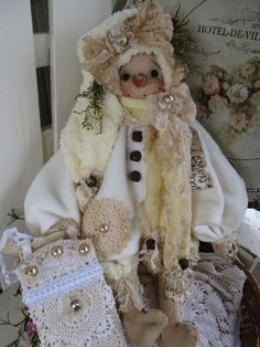 "Primitive Prim Folk Art Snowman Snowwoman Doll w/ Sled 27"" ""Lemon Cream""!!! #NaivePrimitive #LeahsWhimsicalcorner"