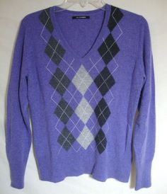 100% Cashmere Sweater Purple Argyle V-Neck LUXE Long Sleeve Women Medium / Large #Unbranded #VNeck