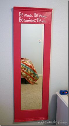 DIY Mirror Makeover from mudpiestudio.blogspot.com  used repositionable contact paper to use a cheap stencil