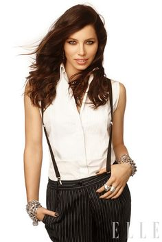 Jessica Biel in Dolce&Gabbana for Elle US, December 2011 Jessica Biel, Suspenders For Women, Elle Us, Culture Pop, Elle Magazine, Magazine Covers, Female Poses, American Actress, Her Hair