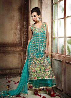 #Stunning #Sky #Blue #Georgette #Reception #Wear #Designer #Salwar #Suit #partywearanarkalisuitdesigns #weddinganarkalisuitspinterest