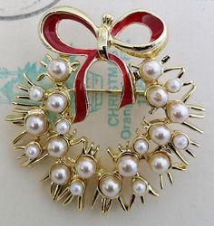 Vintage Christmas Wreath Pin Reindeer, Red Bow Faux Pearl Brooch Costume Jewelry