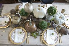 Fall table. Metallics. Love the textures and the departure from the normal orange & brown of fall.
