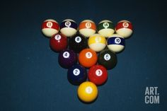 Billiard Balls Racked Up on Pool Table, Photography by D. Carriere.