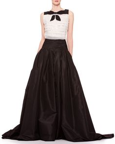 -4PD8 Carolina Herrera Sleeveless Tiered Bow Top & Long A-Line Silk Skirt