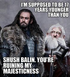 Lol...why does Balin look so much older? Though the book did describe him as having a fully white beard