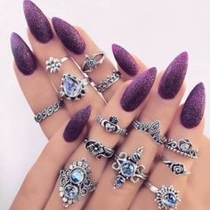 Nails Almond Purple Glitter Ideas For 2019 Purple Nail Designs, Nail Art Designs, Nails Design, Pink Nails, Glitter Nails, White Nails, Nail Stiletto, Hair And Nails, My Nails