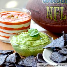 Super Bowl Recipes with blue tortilla chips: Yogurt Guacamole Dip and Patriotic Red Pepper Layer Dip