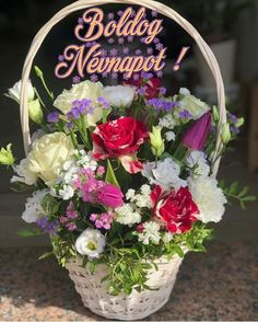 Happy Brithday, Name Day, Flower Pictures, Floral Wreath, Wreaths, Birthday, Flowers, Decor, Frases