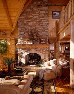 Log Home - for more information on this beautiful log home or building a log home or timber frame home contact www.homedesignelements.com