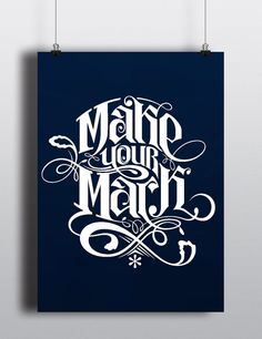 Make Your Mark Typographic Poster Black by Markologie on Etsy Typographic Poster, Make Your Mark, Lettering, Type, Book, Unique Jewelry, Handmade Gifts, Quotes, Etsy