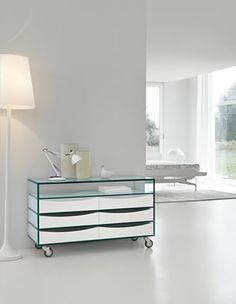 A modern unit alternates drawers and shelves, designer Marco Gaudenzi