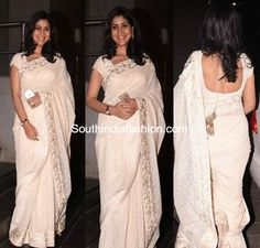 Sakshi Tanwar in a white saree at dangal movie screening Indian Natural Beauty, Indian Beauty Saree, Dangal Movie, Sakshi Tanwar, White Saree, Saree Models, Party Wear Sarees, India Fashion, Beautiful Indian Actress