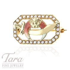 Pearl Fraternal Shriner Pin in 14K Yellow Gold