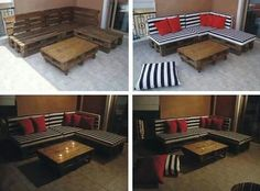 Outdoor seating using pallets