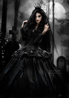Full Mourning gown look on this #Goth girl image