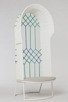 long Classic Chair with Woven High Back Seat
