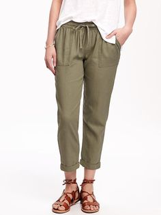 Linen-Blend Cropped Pants for Women Product Image