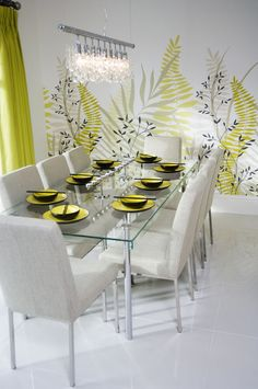 Bright and airy grey and chartreuse dining room design. Windsor Interior Decorating and Design Dining Room Design, Kitchen Design, Dining Chairs, Dining Table, Dining Rooms, Hall Design, Interior Decorating, Interior Design, Elle Decor
