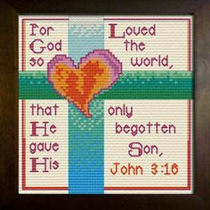 Cross Stitch Bible Verse John For God so loved the world, that He gave His only begotten Son, Cross Stitch Bookmarks, Cross Stitch Charts, Cross Stitch Patterns, Cross Stitching, Cross Stitch Embroidery, Beaded Angels, Easter Cross, Religious Cross, Jesus On The Cross