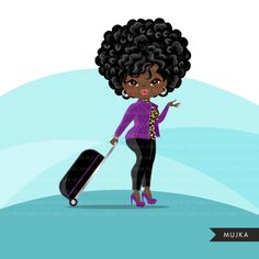 Travelling black woman clipart avatar with suitcase, print and cut, sh – MUJKA CLIPARTS Travel Divas, Diva Quotes, Purple Cakes, Girls Clips, Afro Girl, Shop Logo, Digital Stamps, Print And Cut, Suitcase
