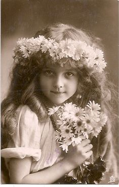 Vintage Postcard....this little girl resembles my Mom when she was little!  <3