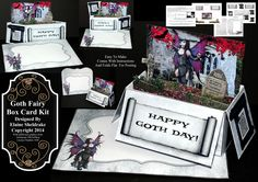 """Goth Fairy"" Pop-Up Box Card Kit with matching envelope. Easy to make and comes with full instructions and it folds flat for posting. £1.60 and only available from me at https://www.facebook.com/photo.php?fbid=10201782553240511&set=oa.1504878103089514&type=3&theater"