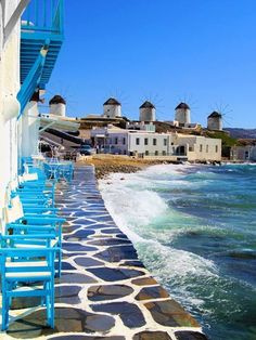 Greece: Mykonos: Little Venice/Windmills. (I am going to have to try to duplicate this photo!) Lying at the heart of the Eagean Sea, Mykonos is one of the most inviting islands of Greece. Places Around The World, The Places Youll Go, Places To See, Around The Worlds, Vacation Destinations, Dream Vacations, Vacation Spots, Vacation Places, Wonderful Places