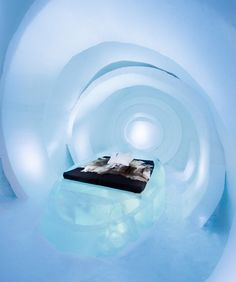 The Live Your Time Icehotel suite appears to be constructed from concentric rings of ice
