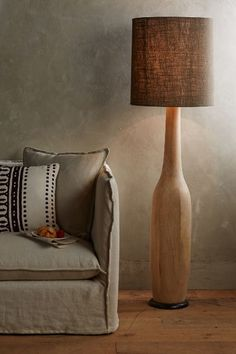 Carved Oak Floor Lamp
