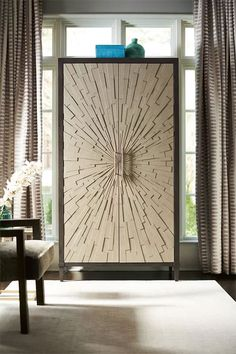 Love the modern sunburst details on the doors of this fabulous Armoire! Muebles Art Deco, Wooden Door Design, Wood Design, Business Furniture, Wardrobe Design, Deco Design, Wood Doors, Modern Wooden Doors, Furniture Collection