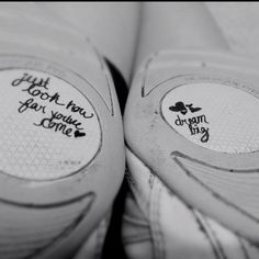 """Quotes on my cheer shoes. Cheerleading flyer inspiring bases """"dream big"""" """"look how far you've come"""""""
