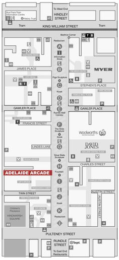 Rundle Mall map • Adelaide city icon • South Australia