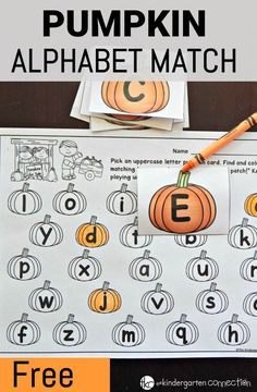 Work on letters and sounds in a fun, seasonal way with this free pumpkin alphabet match! #freeprintable #alphabet #pumpkins #pumpkinmatch #pumpkinalphabet #kindergarten #preschool