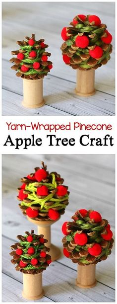 Yarn-Wrapped Pinecone Apple Tree Craft for Kid: Children create unique apple trees using yarn, pompoms, and pinecones! Great way to practice fine motor skills and goes well with units on seasons, fall, or autumn. Perfect for preschool, kindergarten, and f