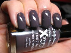Sally Hansen Xtreme Wear GREY AREA~ a purple grey Fall nail color. Edgy Neutrals. Drugstore Nail Polish Dupe for ESSIE SMOKIN' HOT.
