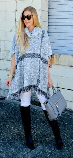 #winter #fashion /  Grey Fringe Cape / Grey Leather Tote Bag / White Skinny Jeans / Black OTK Boots