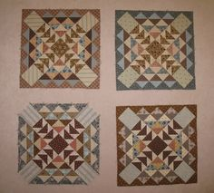 Mereth and her twin, Keryn, are reproducing an antique quilt.  These are 4 of Mereth's blocks.