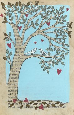 """ Love tree"" Book Page Art, Old Book Pages, Book Art, Altered Books, Altered Art, Creative Arts And Crafts, Creative Ideas, Textiles, Art Textile"