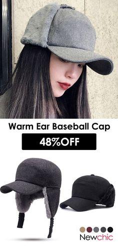 d1cf1e6acf5 Women Ear Protection Winter Adjustable Thickening Cotton Plush Warm  Comfortable Vintage Baseball Cap  hats