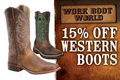 Get 15% off all western boots at www.workbootworld.com. Includes all regular and clearance priced hunting boots. Offer valid until Wednesday, June 10th, 2015. Must use promo code: WBWWILDWEST0615