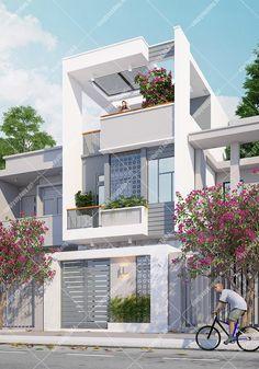 Best Home Design Software, 3 Storey House Design, Narrow House Designs, Townhouse Designs, House Elevation, Modern House Plans, Facade House, Home Fashion, Building Design