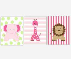 Baby Girl Nursery Wall Art Pink Green by DezignerheartDesigns