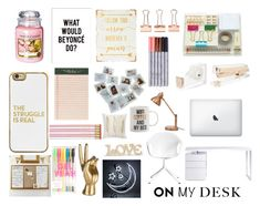 """Analis' Desk"" by anastasiaxbui ❤ liked on Polyvore featuring interior, interiors, interior design, home, home decor, interior decorating, Kate Spade, Bellini, Kristalia and WALL"
