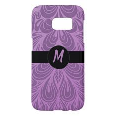 Monogram Purple Abstract Feather Floral Pattern Samsung Galaxy S7 Case - girly gifts special unique gift idea custom