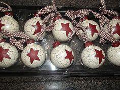 Primitive Christmas Ornaments ~ 13 Crackle Painted, Burgundy Star~ Homespun