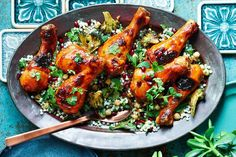 Honey-glazed chicken drumsticks with pearl couscous salad (Shannon Bennett) Pearl Couscous Recipes, Pearl Couscous Salad, Couscous Salad Recipes, Couscous How To Cook, Chicken Couscous, Honey Glazed Chicken, Salad Sauce, Delicious Magazine, Delicious Food