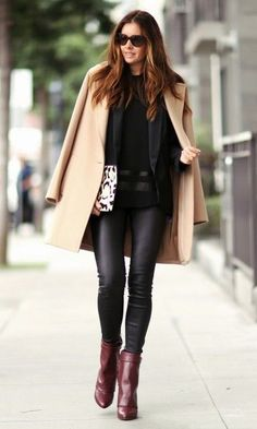 Burgundy Leather Booties # Chic Trends Of Fall Apparel Leather Booties Booties Burgundy Booties Clothing Booties 2014 Booties Outfits Booties How To Style Fall Winter Outfits, Autumn Winter Fashion, Winter Chic, Winter Style, Look Fashion, Womens Fashion, Fashion Trends, Fall Fashion, Street Fashion